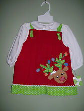 ZU Petit Ami Christmas Reindeer Jumper Red Corduroy 3 pc Dress 9 M Months NWT