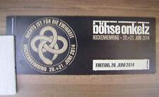 Böhse Onkelz Boehse Onkelz Hockenheim Eintrittskarte Sammlerticket 2014 Ticket
