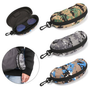 Portable Carabiner Camouflage EyeGlasses Case Sunglasses Hard Case Protector Box