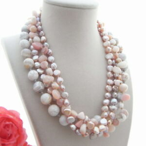 """Purple Pearl Necklace Pink Opal White Agate 4 rows Strands 18"""""""
