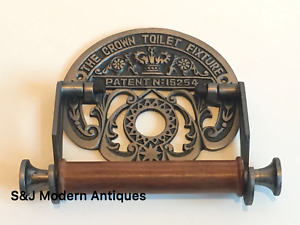 Victorian Toilet Roll Holder Silver Grey Iron Vintage Novelty Unusual Crown Old