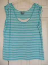 Women's Size Large Turquoise and White Striped Sleeveless Tank Top