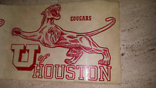 VIntage Original  1950's Travel Decal  UNIVERSITY OF HOUSTON  College TX Cougars