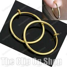 "CLIP ON 1""GOLD TONE POLISHED hoops HOOP EARRINGS look pierced FASHION 25mm 2.5cm"