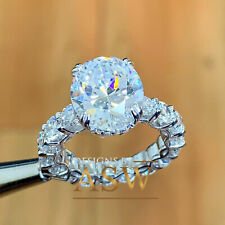 Moissanite Round Cut Engagement Ring 5.00Ct 14K White Gold Oval Cut Forever One