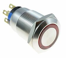 Red LED illuminated Angel Eye 19mm Latching Push Button Switch 12V