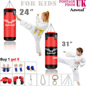 9 Piece Boxing Set Kids 2ft UnFilled Heavy Punch Bag Gloves, Chains, Kick gift