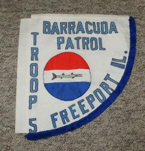 NEAT VINTAGE BOY SCOUT BANNER OR FLAG FREEPORT IL BARRACUDA PATROL TROOP 5