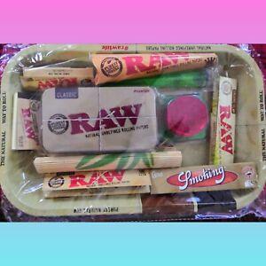 Raw Rolling Tray Kit Gift Set Raw Organic ,tin,tips , Grinder, UK STOCK #free 🚚
