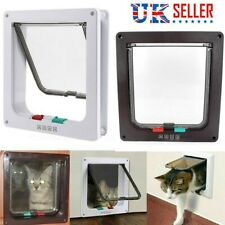 4 Way Small Medium Large Pet Cat Dog Lockable Safe Plastic White Frame Flap Door