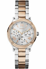 New Guess Women W0331L3 Roman Multi Dial Crystals Stainless Two Tones Band Watch