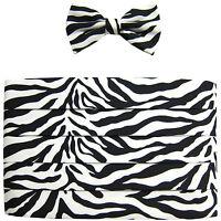 NEW men's 100% Polyester Zebra print Cummerbund & bowtie set prom black white