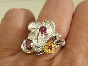 GENUINE 0.73ct! African Rhodolite Garnet Flower Ring Solid Sterling Silver 925!