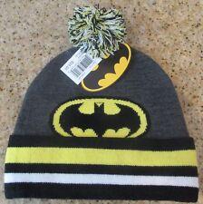 Superhero BATMAN Black Gray Yellow White Sweater Material Warm Winter Hat Pom