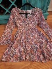 BOUTIQUE long sleeve paisley bohemian fit & flare mini shirt dress hippy MED 4