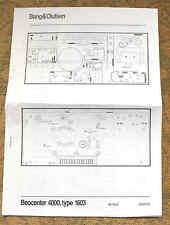 Bang & Olufsen BEOCENTER 4000, type 1603 WIRING diagrams / leaflet (B&O).