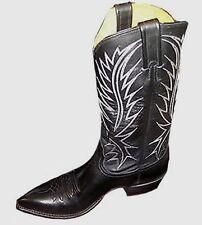 Nocona Mens 1700127103 Vintage Black Glossy Cow Western Boots 7.5B USA New