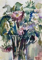 Prof Dr Alfred Behle 1935-97 Vase mit Astern Blumen Pink Stillleben