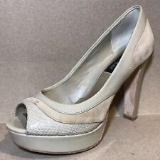 White House Black Market Women Shoes Sz 6.5M Nude Leather Peep Toe Heels Platfor
