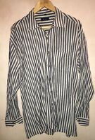 Men's Buttons Up Long Sleeve Shirt Navy/White Stripe Size L AFTERS<NH7064