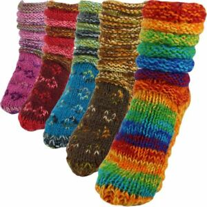 WOOL SOCKS FLEECE LINED CHUNKY KNIT SLOUCH BED SLIPPERS WINTER WARM