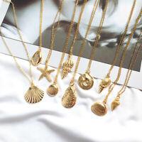 Anhänger Halskette Alloy Cowrie Conch Seesterne Seesterne Goldene Farbkette