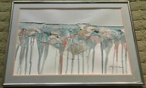 VIntage 70s Mixed Media Wall Hanging Collage Painting Mid Century Modern Signed