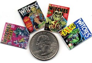 4 Mini OPENING  - HALLOWEEN -  Witches Tales  Comics  - Dollhouse  1:12 scale