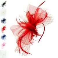 Flower Feather Hair Hat Fascinator Headband Clip Mesh Wedding Royal Ascot Formal