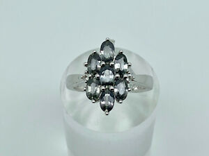 Gorgeous Sterling Silver Tunduru Colour Change Sapphire Cluster Ring Size K 1/2