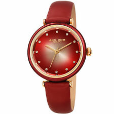 Women's Akribos XXIV AK1035RD Swarovski Crystal Markers Red Leather Strap Watch