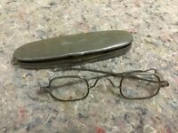 Antique Silver Eyeglasses In Tin Case-Slide Arms