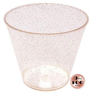 JL Prime 100 Rose Gold Glitter 9 Oz Heavy Duty Reusable Disposable Plastic Cups