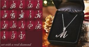 Avon Shar Diamond Initial Necklace choice of B C F L N or T letters in Gift Box