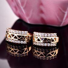 Antique Knot Ear Jewelry Women Sapphire Crystal Gold Filled Stud Hoop Earrings