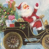 Vintage Mid Century Christmas Greeting Card Santa Old Fashioned Car Tree Gifts