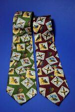 2 x Original Kravatte 80er, 100%Polyester, Belvedere, Vintage Tie Enten Jagd