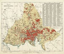 MAP ANTOQUE 1883 KRUM CHRISTIANIA OSLO NORWAY LARGE REPLICA POSTER PRINT PAM1355