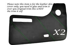 GREEN STITCH 2X DOOR CARDS LEATHER SKIN COVERS FITS VW T2 WESTFALIA CAMPER