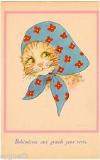 Postcard French Artist-Signed M.B. Cooper Cat With Green Eyes In Kerchief