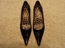 Dolce & Gabbana D&G Blk Leather Leopard Line Low Pump 38 7 1/2 kitten heel shoe