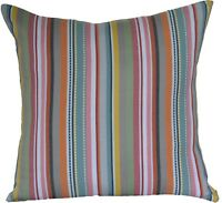 "Large Rainbow Colourful Woven Stripes Cushion Covers 60 cm 24"" Washed Muted"