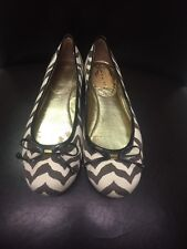 Coach Brown/Cream Canvas Ballet Flats With Gold inside/Gold Heels Size 7B
