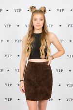 vintage brown suede high waist skirt by Chelsea Cambell 10