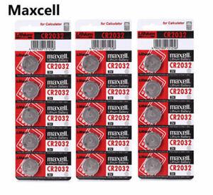 Maxell 5 x Genuine CR2032 3v Lithium Button/Coin Car Fob Keypad Cells Batteries