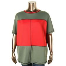 Anne Klein  Womens Green Scuba Colorblock Short Sleeves Casual Top Xl