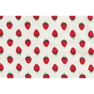 Half Metre Red Strawberries White Polycotton Crafting Mask Dressmaking Fabric