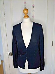 ESPRIT cardigan Size L Navy Blue wool blend V neck  sequin detail