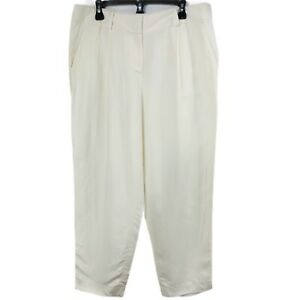 NEW Ann Taylor Size 12 Linen Pants White Ivory Capri Pleated Front Straight Leg