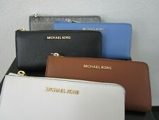 Michael Kors Jet Set Travel Black Leather Three Quarter Zip Around Wallet